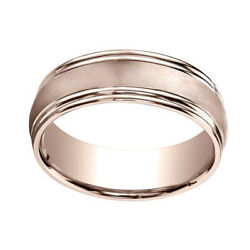 14k Rose Gold 7.5mm Comfort Fit Satin Finish Double Round Edge Band Ring Sz 13