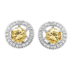 6 Ct Round Golden Moissanite Stud Halo Earrings Jackets In Sterling Silver