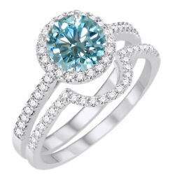 2.75 Ct Light Blue Moissanite Halo Bridal Set Engagement Ring In Sterling Silver