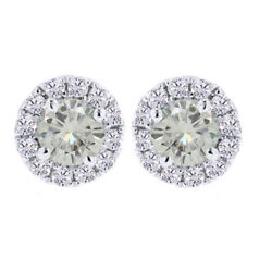 3 Ct Genuine Moissanite Solitaire Prong Halo Stud Earrings In Sterling Silver