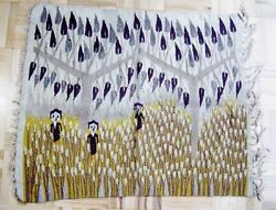 Modernist Tapestry Wall Hanging Figures Trees Handwoven Vintage Egypt
