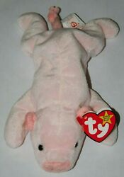 Rare Retired Ty Beanie Baby Squealer The Pig W/ 2 Tush Tags And Swing Tag Errors