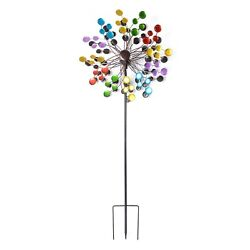Hand Painted Multi Color Circles Solar LED Wind Spinner Adjustable Height 70quot;