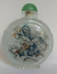Antique Chinese Crystal Bottle W/green Jade Stopper Reverse Painted Dragon