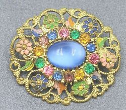 Vintage Filigree Rhinestone & Enamel Womens Brooch Fashion Statement Jewelry