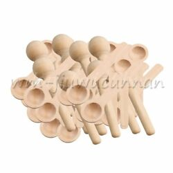 50pcs Mini Small Wooden Salt Sugar Spoons Scoops Ice Cream Coffee Cooking Tool