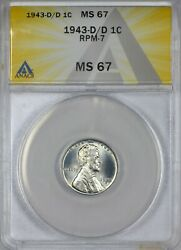 1943 D/d Steel Lincoln Cent Anacs Ms67 - Repunched Mint Mark Rmp-7 Rare In 67