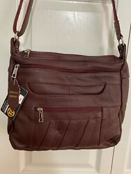 Roma Leathers RIGHT or LEFT Lock amp; Key Concealed Carry SOFT Crossbody WINE $79.00