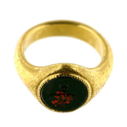 """2904antique Gold And Jasper Seal Ring Of Newspapermaneye,pen,""""truth"""""""