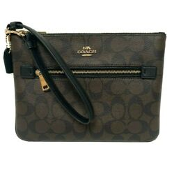 COACH Gallery Pouch In Signature C Canvas Wristlet Wallet F79896 Brown Black NWT $89.00