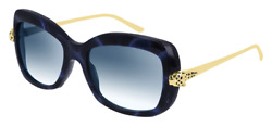 Cartier Women Sunglasses CT0215S-004-PANTHERE Blue Havana  Blue Gradient Lenses