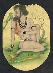 Indian Miniature Painting Of Sage With Parrot Handmade Finest Artwork On Paper