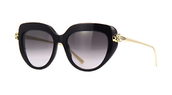 Cartier Women Sunglasses CT0214S-001-PANTHERE Black  Grey Gradient Mirrored