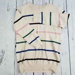 MODCLOTH Multi color Striped Knit Viscose Sweater Top Button Shoulder Women XS $7.99