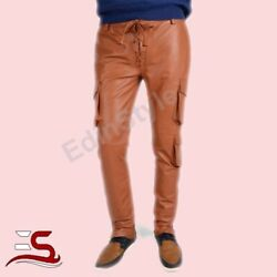 New Menand039s Genuine Cowhide Tan Cargo Pants New Style Men Real Leather Trousers