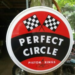 Rare Vintage Perfect Circle Piston Rings Sign/light Gas Oil Speed Drag