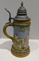 Hr Hauber And Reuther 451 German Lidded Beer Stein C.1890's