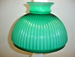 Antique Cased Glass Green Color Furled Lamp Shade Student Or Oil Style.