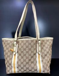 GUCCI GG Pattern Sherry Shoulder Tote Bag Canvas Leather charm 200643513 e5401 $188.00