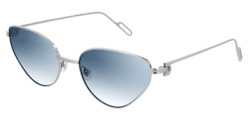 Cartier Women Sunglasses CT0155S-006-PREMIER Silver  Light Blue Gradient Lenses