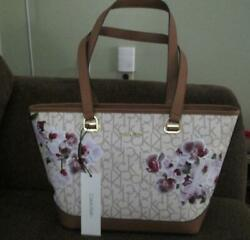 NWT Ladies  Calvin Klein Janae Orchid Logo Tote Purse FLORAL PINK GORGEOUS!! $89.00