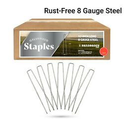 Sandbaggy 12 Inch Rust Free Landscape Staples Sod Stakes Fabric Pins - 8 Gauge