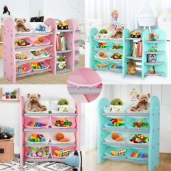 Toddler#x27;s Toy Storage Organizer 8 Bins Corner Shelf Drawer Children Book Rack