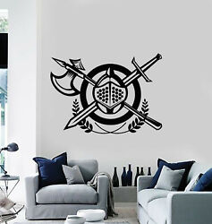 Vinyl Wall Decal Fighter Knight War Medieval Weapons Stickers Mural G3203