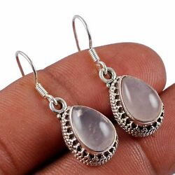 Rose Quartz Solid 925 Sterling Silver Earring Jewelry Ae-5048