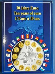 2009 10 Years Of Euro Partially Gilded Copper Silver Plated Medal Complete Set