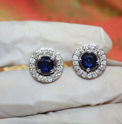 0.84ct Natural Diamond 14k Solid White Gold Sapphire Stud Screw Back Earring