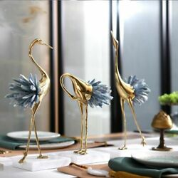 Statue Sculpture With White Blue Crystal Tail Home Art Gift Figurines Home Decor