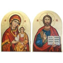 Set Of Two Hand Painted On Wooden Plaque Jesus And Virgin Mary Icons 12 Inches