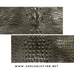 Embossed Leather Crocodile Black Leather Sheets for Crafters Wallets Bags $13.99