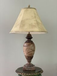 Vintage Traditional Faux Marbleized Urn Vase Table Lamp Brown Soap Stone
