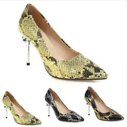Womenand039s Pointy Toe Stiletto High Heel Dress Court Print Snakeskin Shoes 34/54 L
