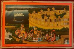 Indian Hand Painted Rajput Miniature Procession King Queen Silk Art Colors India