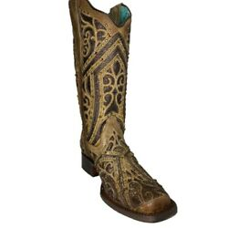 Corral Ladies Straw Brown Studded Boot W/ Bronze And Black Laser Inlay E1623