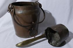 Antique Copper Hanging Stew Stock Pot And Ladle 7.5 Tall