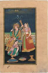 Hand Painted Indian Painting Miniature Portrait Of Mughal Emperor Exquisite Art