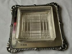 Antique Solid Silver Butter Dish Glass Bowl Tableware1902 Henry Atkins 175g