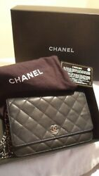 ALL TIME CLASSIC CHANEL 2.55 WALLET ON A CHAIN BLACK LEATHER WBOX AND CARD