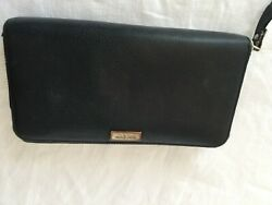 KATE SPADE New York Black Zip Around Long Wallet  8'' X 4'' $7.99