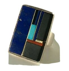 Vtg 10k Yellow Gold 925 Silver Turquoise Coral Onyx Luis Mojica Inlay Ring Sz 9