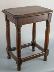 Antique 19th Century English Beveled Tiger Oak Joint Stool Side Table