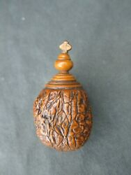 Antique 17th-18th Century Carved Walnut And Boxwood Treen Snuff Box, Bottle
