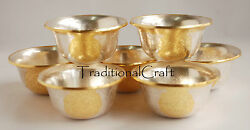 Gold Silver Plated Finely Hand Carved Tibetan Buddhist 3.5 Offering Bowls Set