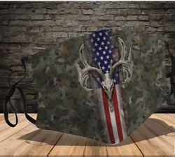 Deer Hunting Face Mask Gift For Dad Printed in US Double Layered Washable Fits A $21.61