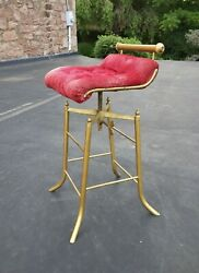Late 19th C. Victorian Cast And Tubular Brass C.h. Hare Simplex Music Cello Stool