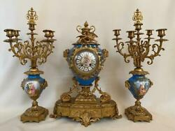 Antique French Royal Blue Hand Painted Sevres Porcelain And Bronze Clock Set